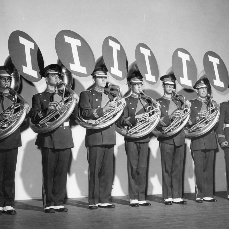Marching band tuba players, circa 1940s-1950s