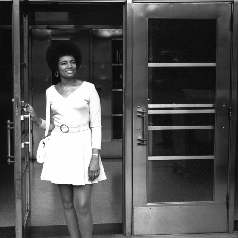 Woman leaving Administration building