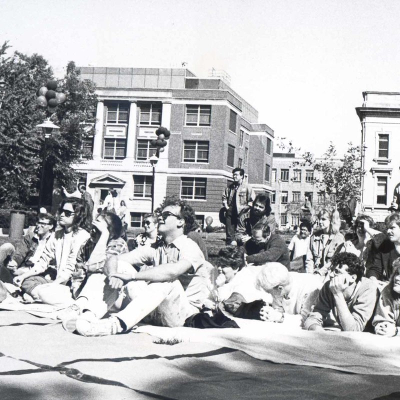 Students listening to music on the quads