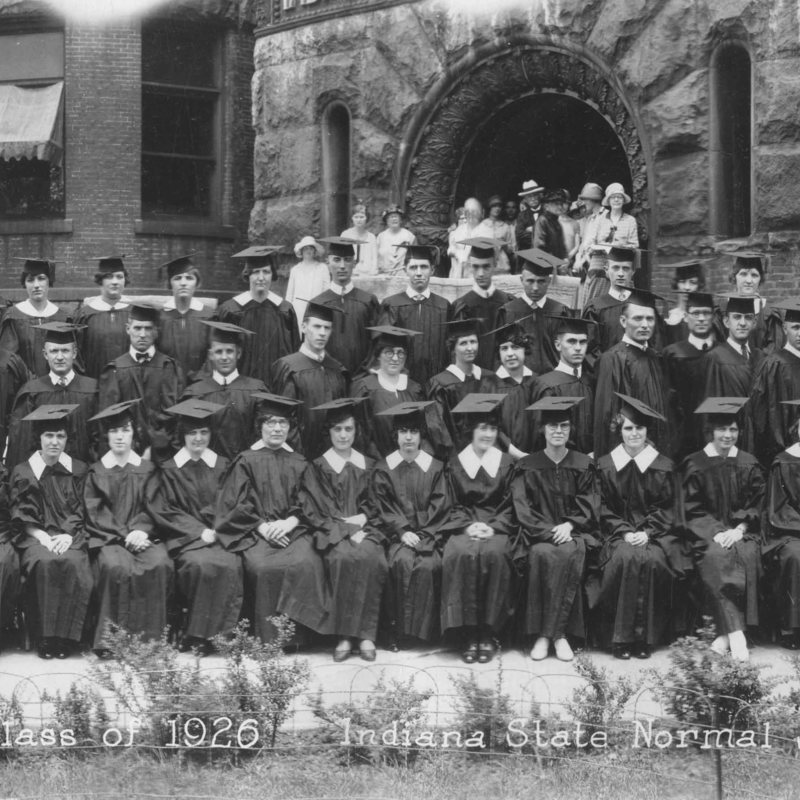 Panoramic photo of the Indiana State Normal School  graduating class