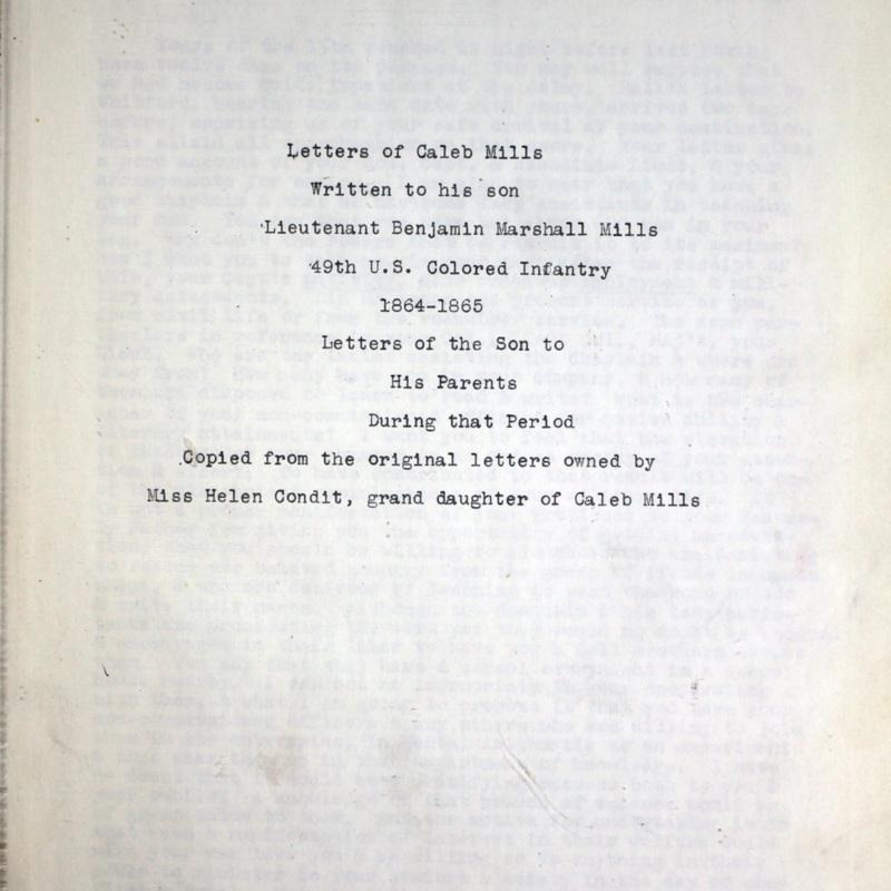 Mills Correspondence Title Page.jpg
