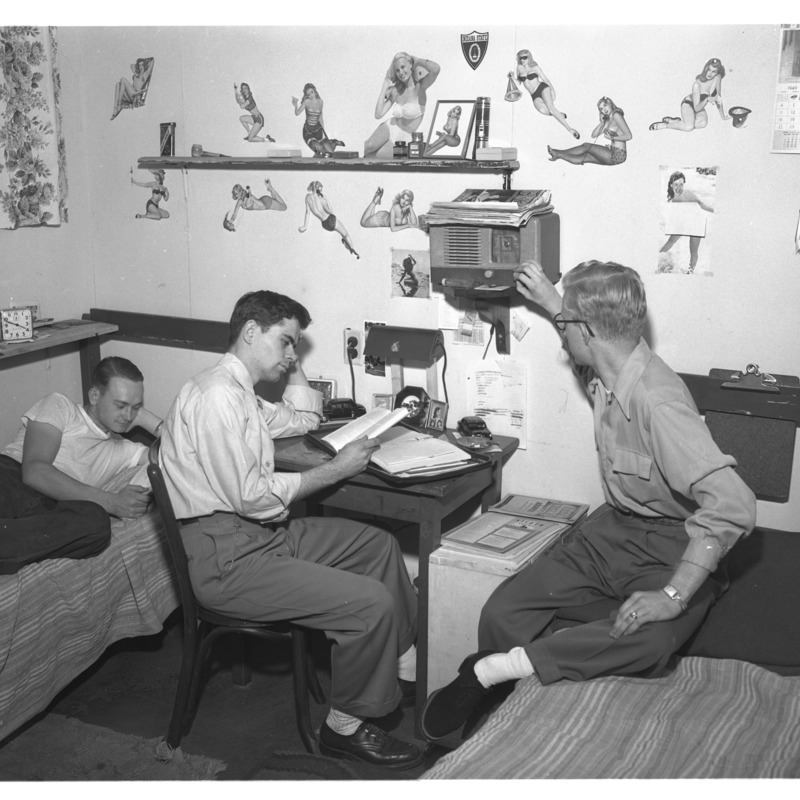 Male students in Parsons dormitory room
